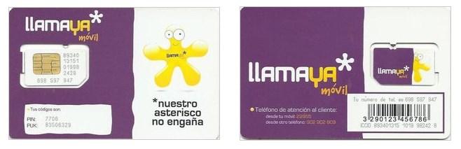 Tarjeta SIM para recargar móvil Llamaya