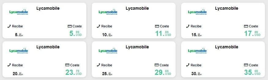 recargar móvil Lyca por la web