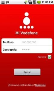 Contraseña para recargar móvil con Vodafone