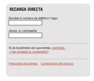 Datos para recargar móvil Yoigo directa