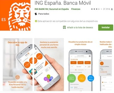 recargar móvil desde ING con iOS y Android