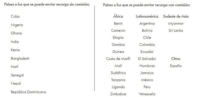 Recarga celular Rebtel en muchos países