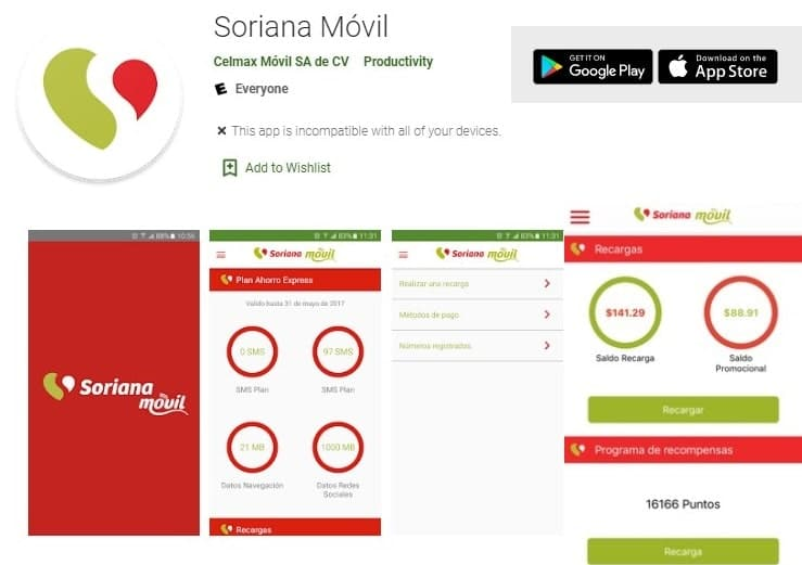 Soriana móvil en google play y app store