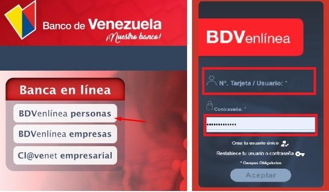 BDV en linea para recargar movilnet