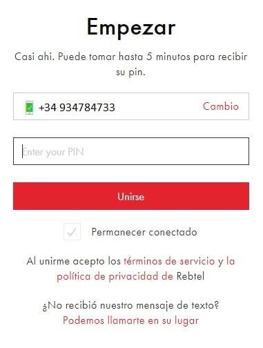 Recarga celular Rebtel por internet