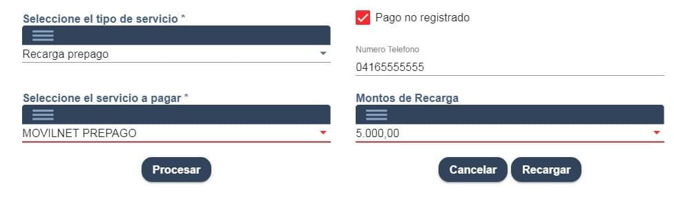 registrar pago de recarga movilnet
