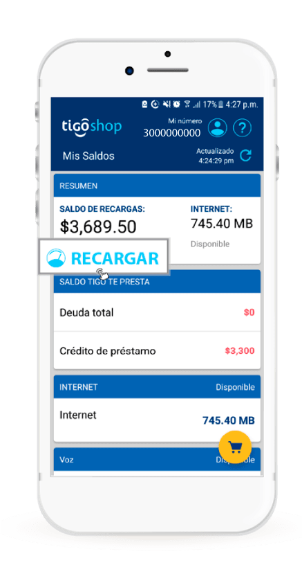 Recargar móvil Tigo desde la aplicación