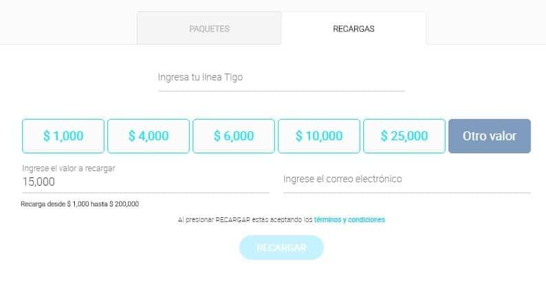 Recargar móvil Tigo desde la página web