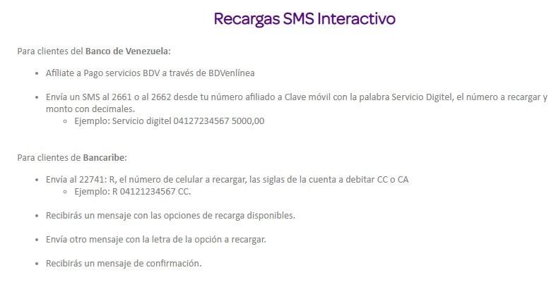 SMS interactivo de digitel
