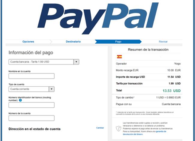 Información de pago con PayPal